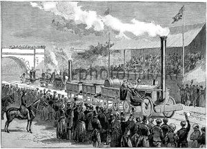Rainhill Trials, October 1829. These trials for early steam locomotives were run at Rainhill, near Liverpool, UK, to determine which would be used on the newly-completed railway from Liverpool to Manchester. Ten trains entered, but only five competed. The two shown here are the Rocket (right, by George Stephenson) the Sanspareil (left, by Timothy Hackworth). The Sanspareil completed 8 of the required 10 trips before suffering engine failure. It was later used on the railway, along with the winner, the Rocket, the only locomotive to complete the trials. Artwork from the third volume (first period of 1889) of the French popular science weekly 'La Science Illustree'.