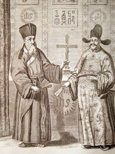 kircher-china-1670-antique-print.-western-jesuit-christians-in-chinese-dress-[2]-102166-p