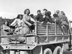 Some Luftwaffe and RSI auxiliaries being in a track of the 13th allied patrol heading to a prison camp. Brescia, April 1945
