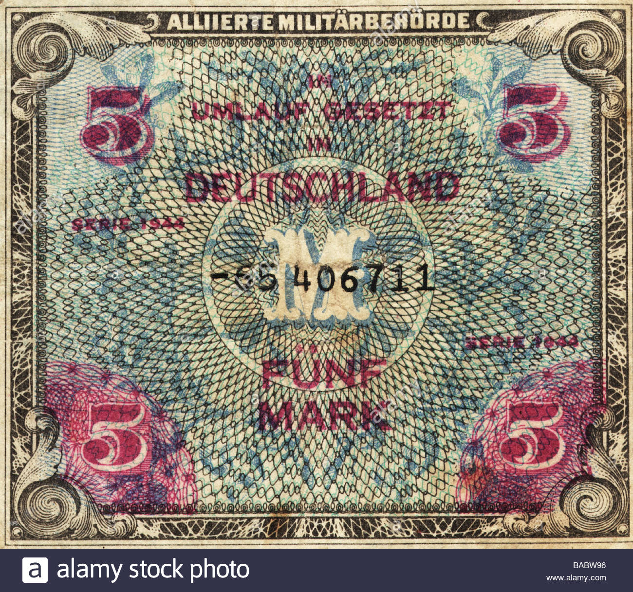 money-finance-banknotes-germany-5-reichsmark-bill-of-the-allied-military-BABW96